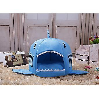 Blue 52x38cm cute funny shark shape pet kennel warm dog house dog-hole cat kennel homi2523