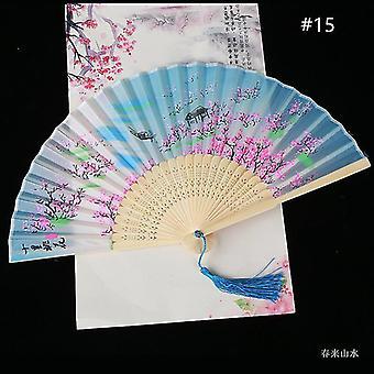Chinesische Vintage Stil Falten Fan Kunst Handwerk Geschenk Tanz Hand Fan Home Decoration Ornamente(#15)