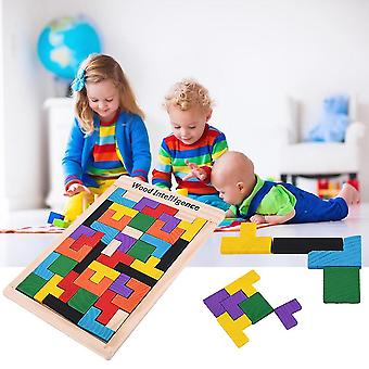Kolorowe drewniane Tetris Puzzle Tangram Mózgu Teaser Puzzle Zabawki Edukacyjne