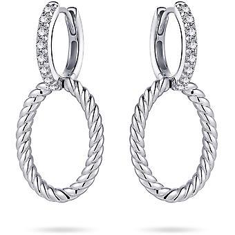 Gisser Jewels - Örhängen - Set med Zirconia Stenar och rörlig vriden Oval - 35mm x 15mm - 15mmØ - Gerhodineerd Zilver 925