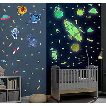 121 Stück Weltraum Wandtattoo Kinderzimmer,DIY Cartoon Rocket Leuchtsticker,fluoreszierend
