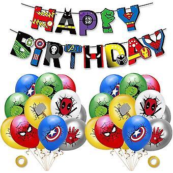 INTVN Superhero Geburtstagsdekorationen-Superhelden Geburtstag Girlande Banner, Latex Luftballons,
