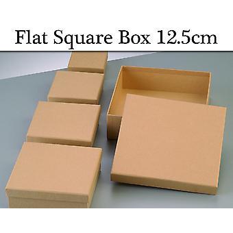 12.5cm Square Flat Paper Mache Box kannella sisustaa   Papier Mache Laatikot