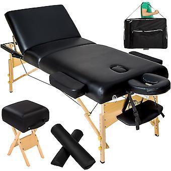 tectake Massagebriks med 3 zoner 10cm polstring + ruller + skammel + taske - sort