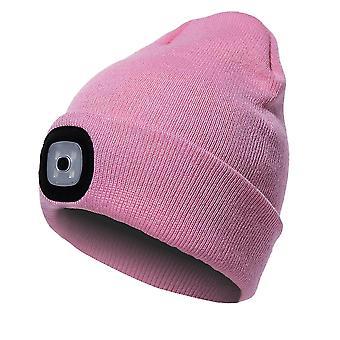 Mössa med lätt Unisex Usb uppladdningsbar mössa keps med lätt pannlampa mössa (rosa)