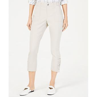 INC International Concepts Women's Ruched-Hem Cropped Pants (12, Bright White)