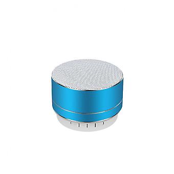 Aluminum Alloy Wireless Bluetooth Speakers Outdoor Portable Mini Metal Speaker With Led Lights Support Tf Card Fm Radio-blue