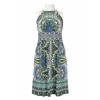Multi Batik Print Flared Jersey Kleid