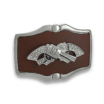 Chrome og brunt skinn krysset Rhinestone revolvere beltespenne