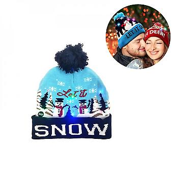 Christmas Hats Sweater Santa Elk Knitted Beanie Hat With Led Light Up Cartoon Patteren Christmas Gift For Kids New Year Supplies