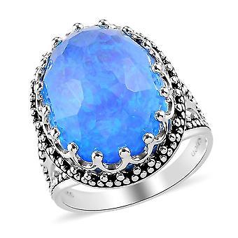 TJC Opal Quarz Dome Ring in 925 Sterling Silber Jubiläumsgeschenk 1.1ct (N)