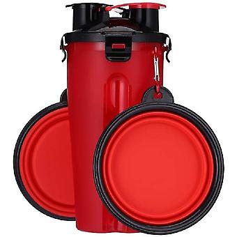 Tragbare Haustier Wasserflasche Tiernahrungsbehälter Doppelkammer 2-in-1 Flasche mit Set von 2 zusammenklappbaren Schüsseln für Hunde / Katzen (rot)