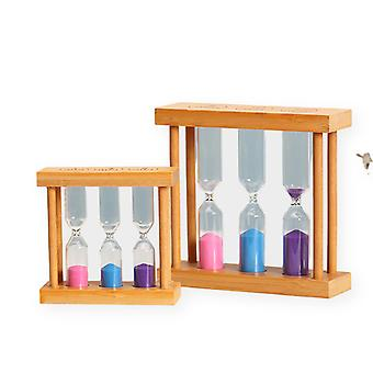2pcs Bamboo Color Hourglass 1/3/5/10/15 Minute Hourglass Game Timer Lovely Birthday Holiday Gift