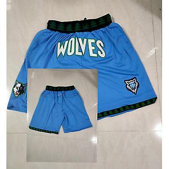 Men's Minnesota Timberwolves Retro Basketball Shorts Casual Outdoor Pockets Sports Sandbeach Pants Purple Size S-xxl