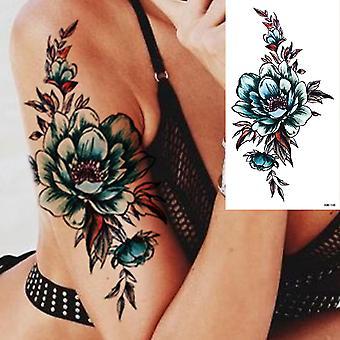 Waterproof Temporary Tattoo Sticker 3d Lace Rose Flower Tattoos Line Lotus Body Art Arm Fake Sleeve Tatoo Women Men