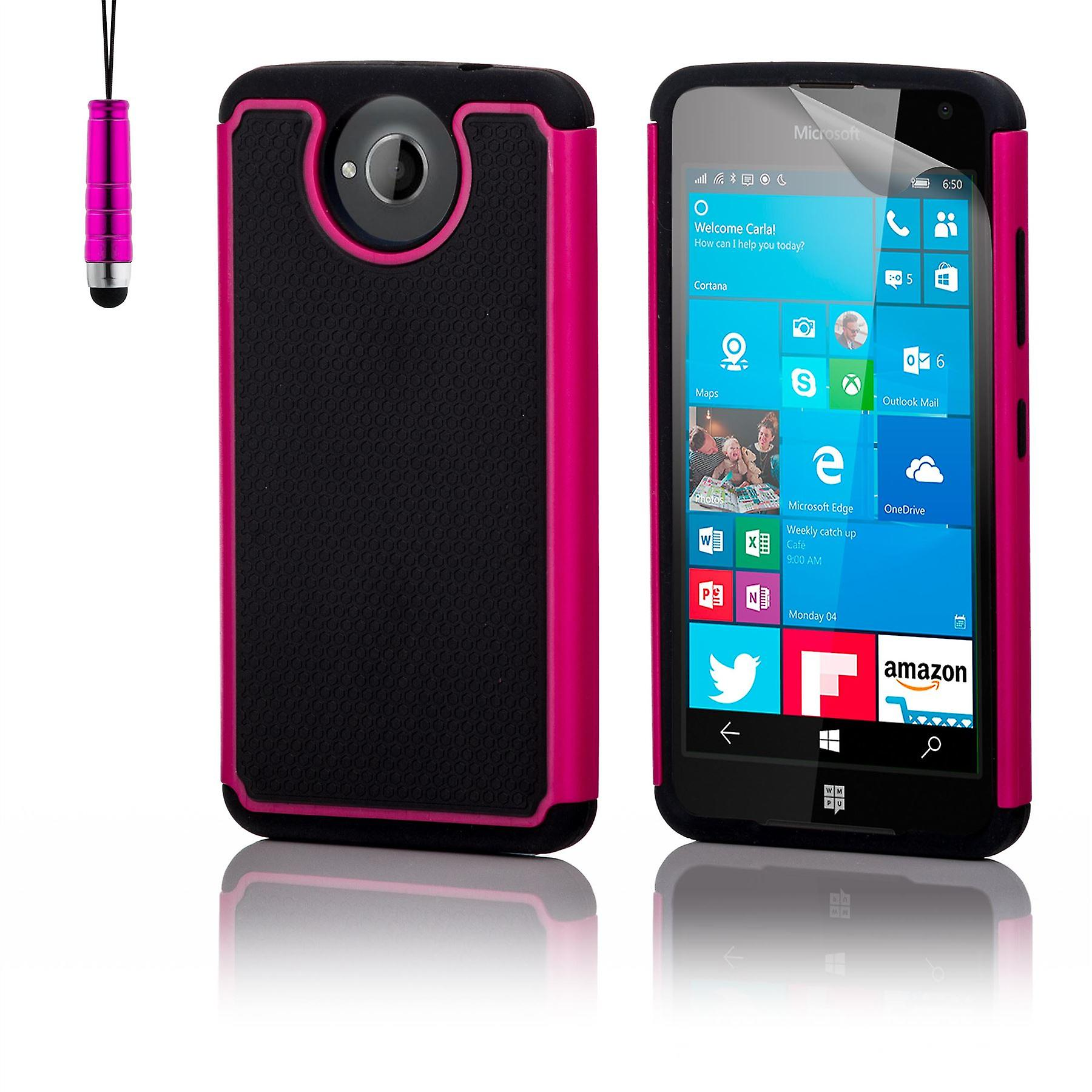 Shock proof case + stylus for Microsoft Lumia 650 (Discontinued) - Hot Pink