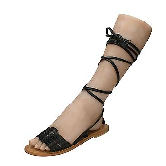 Womens cuir Collection Gladiator plates lacets Leg Mule