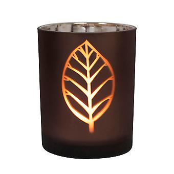 Table Tech Leaf Design 12.5cm Glass Candle Holder, Brown, Silver