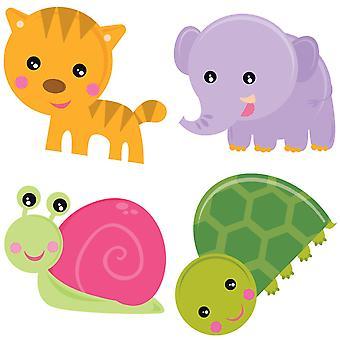 Vrolijke dieren van Playlab, legpuzzels (4 x 2 stuks)