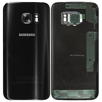 サムスン銀河 S7 バッテリー カバー ブラック オリジナル品質 + レンズ