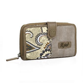 Portemonnee tas houder van vrouw rits sluiting druk. 8 compartimenten voor kaarten en documentatie. Canvas en faux leder.