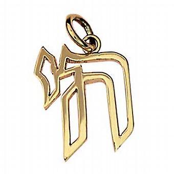 Oro 9ct 19x15mm ebraico Chai la parola per la vita a sospensione