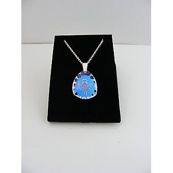 Ice Blue Triangular Thistle Crystal Pendant