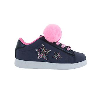 Girls Buckle My Shoe Pom Pom Blue & Pink Hi Top Fashion Trainer Various Sizes