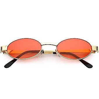 Retro Small Oval Sunglasses Metal Arms Color Tinted Lens 48mm