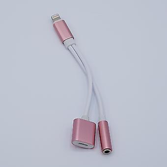 2 in 1 kaapeli iPhone-audio & ligtning 7/8 / X-rose gold