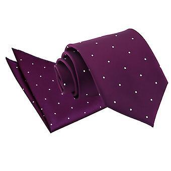Lila Pin Dot Krawatte & Einstecktuch Satz