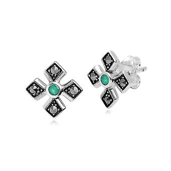 Art Deco Style Round Emerald & Marcasite Gothic Style Cross Studs in 925 Sterling Silver 214E859703925