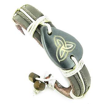 Amulet lederen verstelbare armband met Keltische Triquetra Trinity symbool Lucky Charm