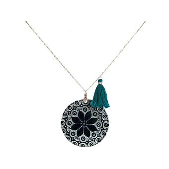 Ladies - necklace - pendant - Locket - mother of Pearl - MANDALA - 925 Silver - Black White - 5 cm