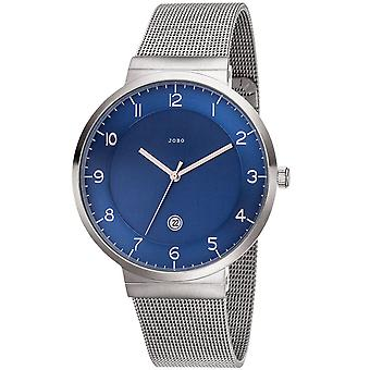 JOBO men's wrist watch blue quartz analog stainless steel date watch