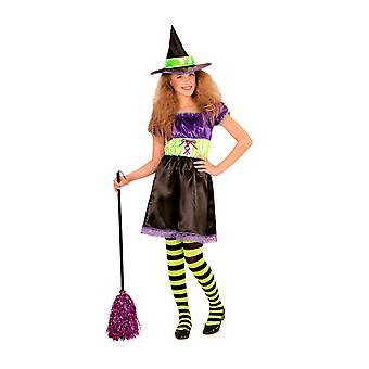 Trajes infantiles niñas vestido de bruja con sombrero para niñas