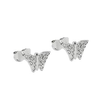 Plug 6x9mm zirconias 9Kt white gold Butterfly