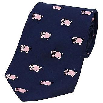 David Van Hagen griser landet silke slips - Navy/rosa