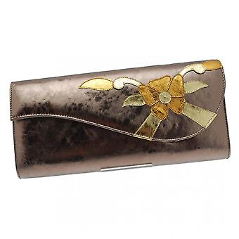 Magrit Pewter Clutch With Shoulder Chain