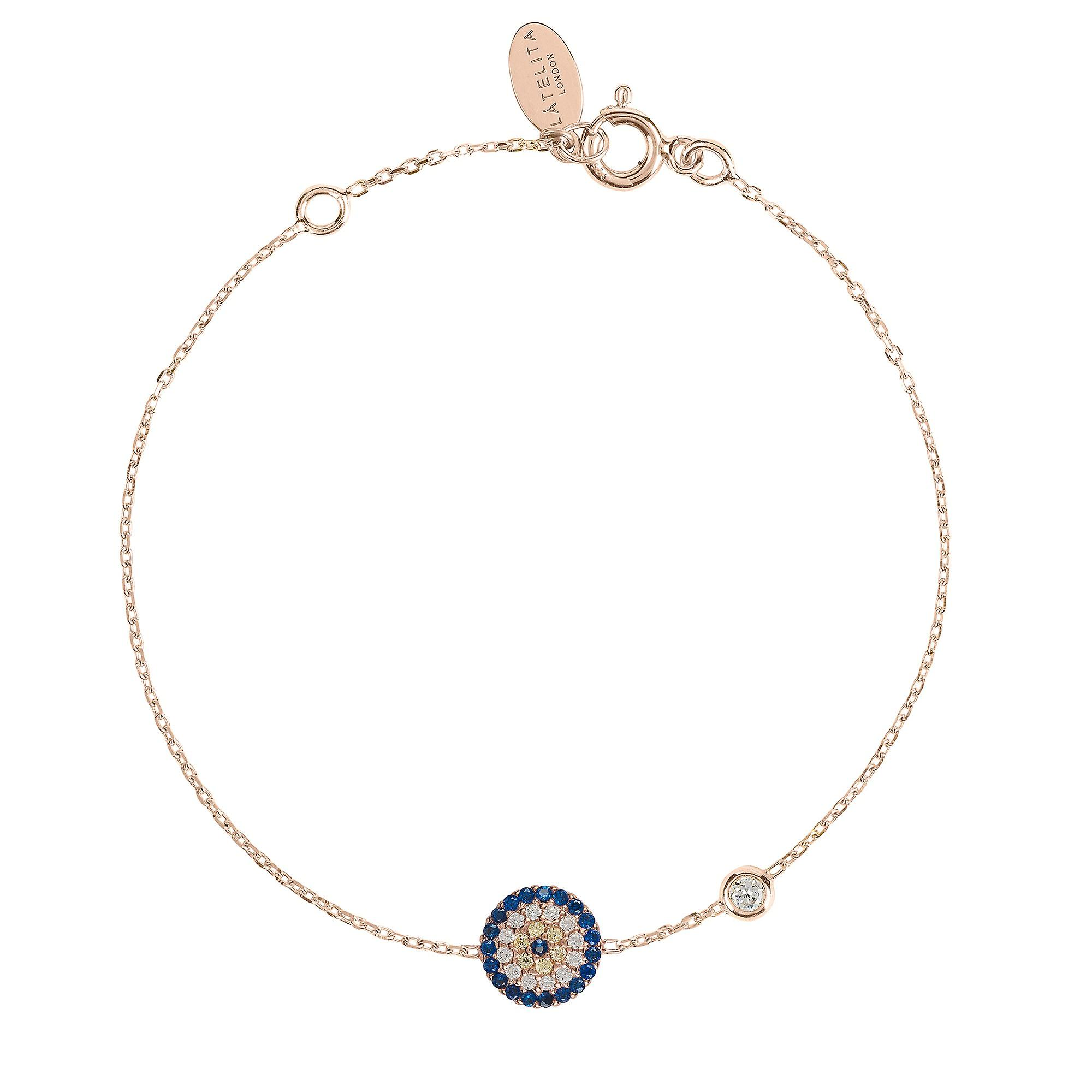 Latelita Evil Eye Rose Gold Bracelet Hamsa Charm Blue Delicate Jewellery Pink