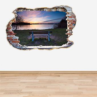 Full Colour Lake Bench Sunset Smashed Wall 3D Effect Wall Sticker