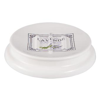 Clayre & EEF round SOAP dish ceramic shabby cottage romance 12 x 2 cm