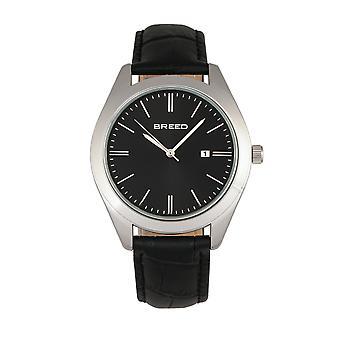 Vrh po Louis kožené-Band hodinky w/Date-Silver/Black