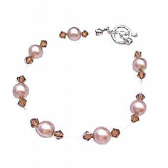 Champagne, Hochzeit Schmuck preiswert Swarovski Perlen braune Kristalle