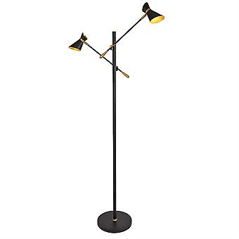 Diablo Matt Black And Gold Two Light LED Floor Lamp - Searchlight 5962-2BG
