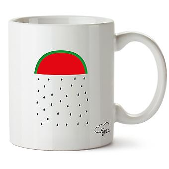 Hippowarehouse Watermelon Rain Printed Mug Cup Ceramic 10oz