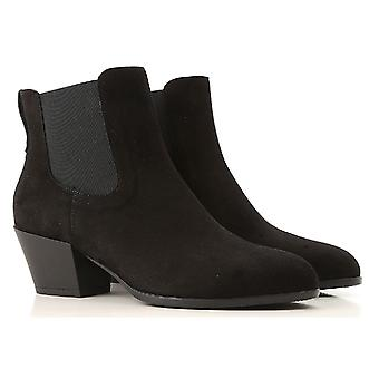 Hogan women's heeled ankle boots shoes in black suede leather
