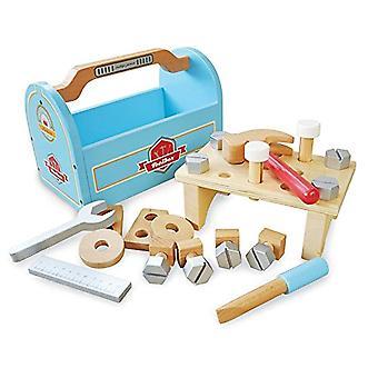 Indigo Jamm lidt tømrere værktøjskasse, foregive spil træ legetøj værktøjer, Hammer, skruetrækker, Spanner, lineal og 21 bygning stykker