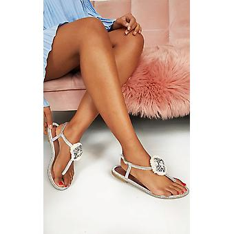 IKRUSH Womens Saskia Jewelled T-Bar Sandals