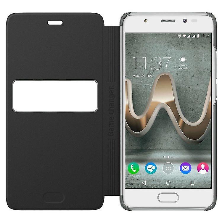Wiko Smart Folio Flip Cover Leder PU für U'Pulse Lite WiBoard - schwarz